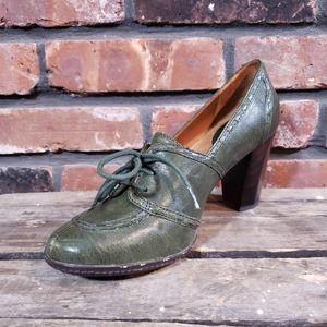 Frye Adrienne Stitched Heeled Oxford Olive Green